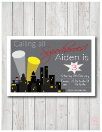 boys superhero birthday invitation