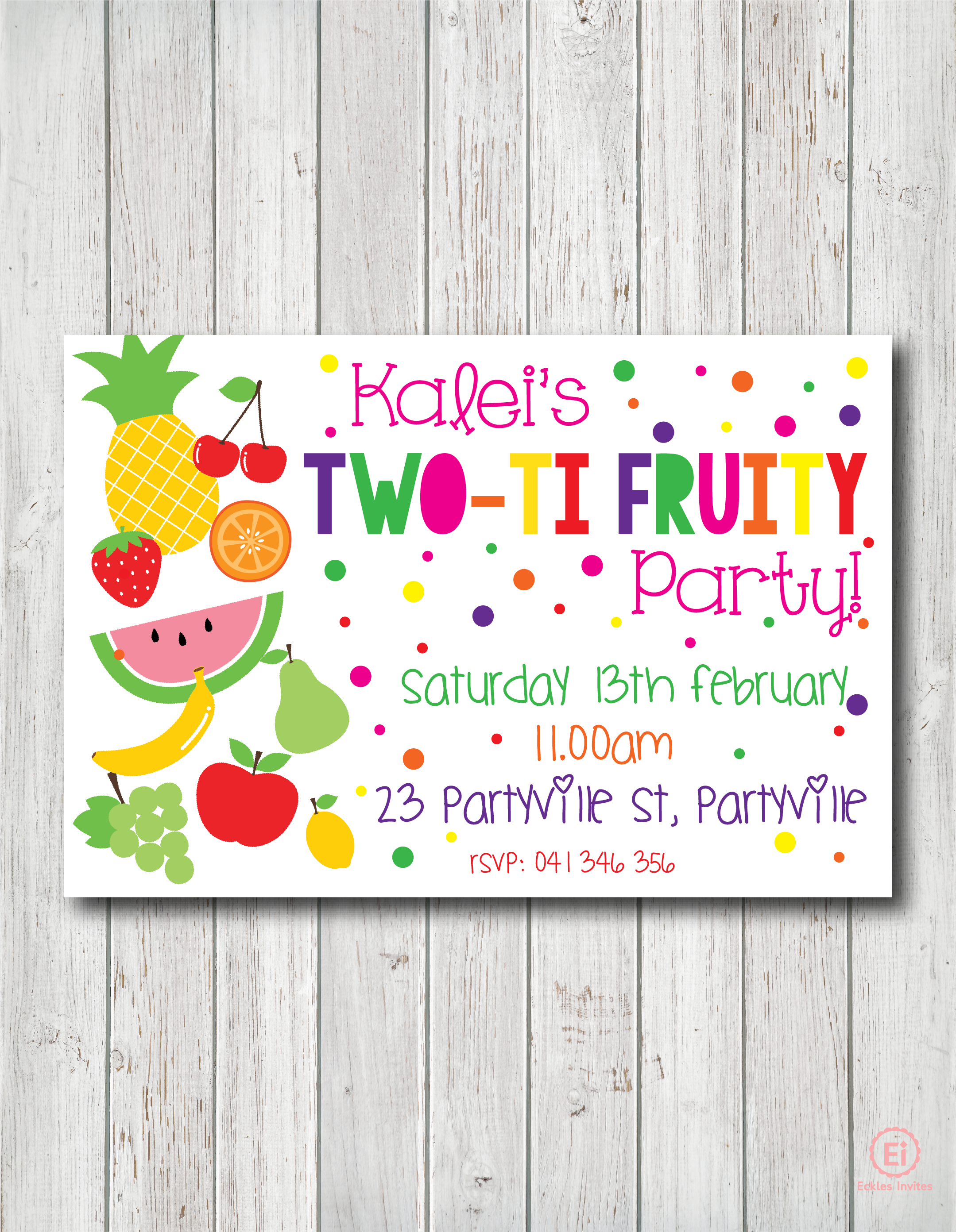 Personalised Party Invitations for Girls Eckles Invites – Personalised Party Invites